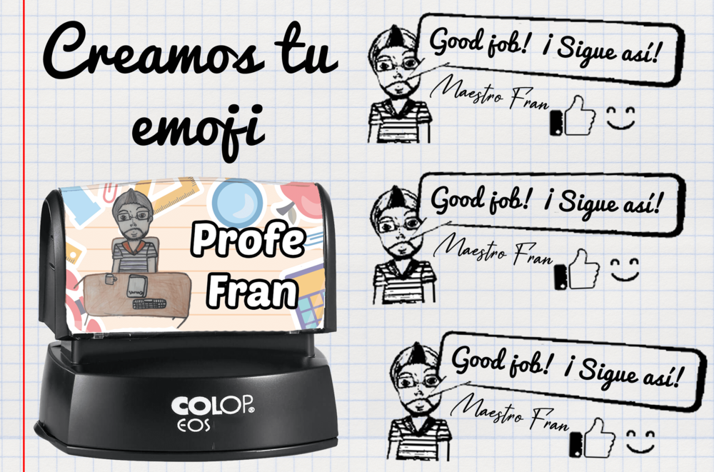 Sello Rectangular Profes  Emoji + lemas.